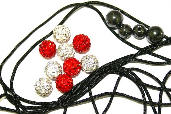 DIY Pave Crystal Bracelet Kit - Red / White - SC